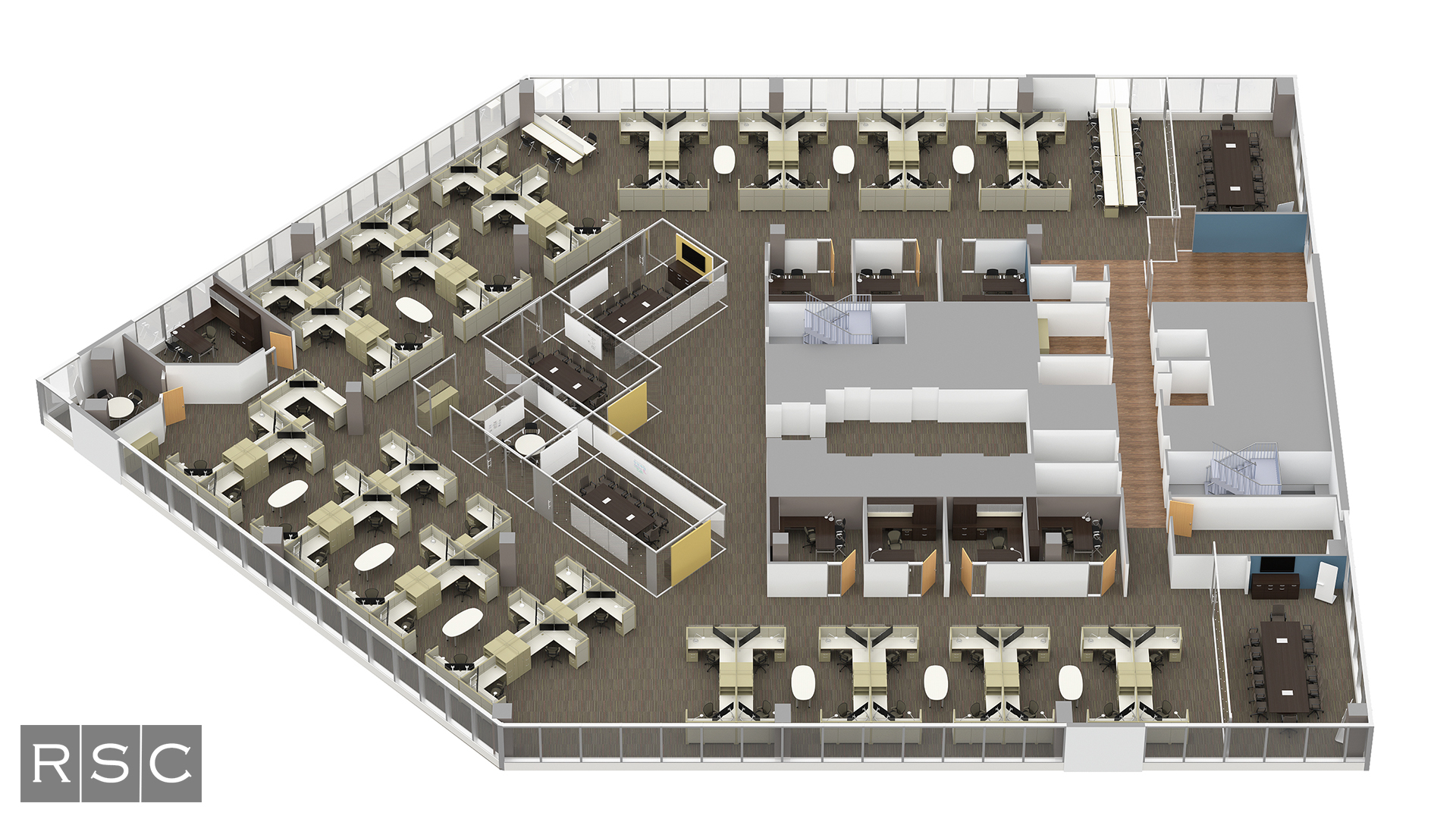 Top Down Office Floor Plan